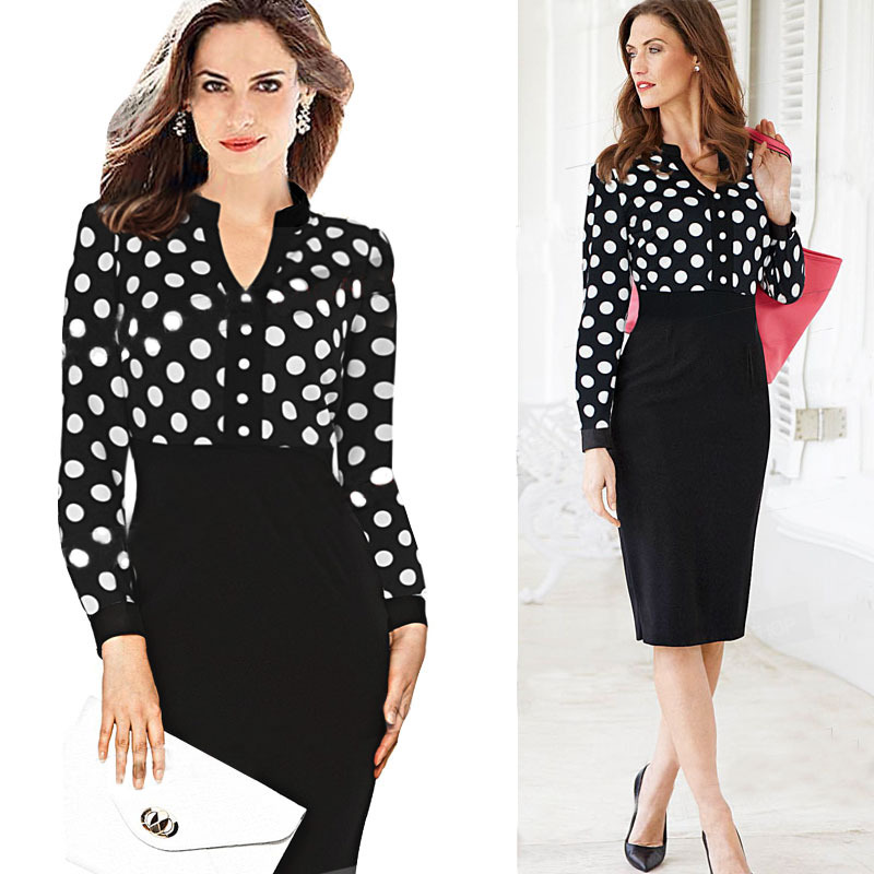 d4d98c3bb68 2015 Plus Size Woman Dress High Street Fashion Elegant Career Office Dress  Polka Dot Long Sleeve Pencil Party Dresses CD1353