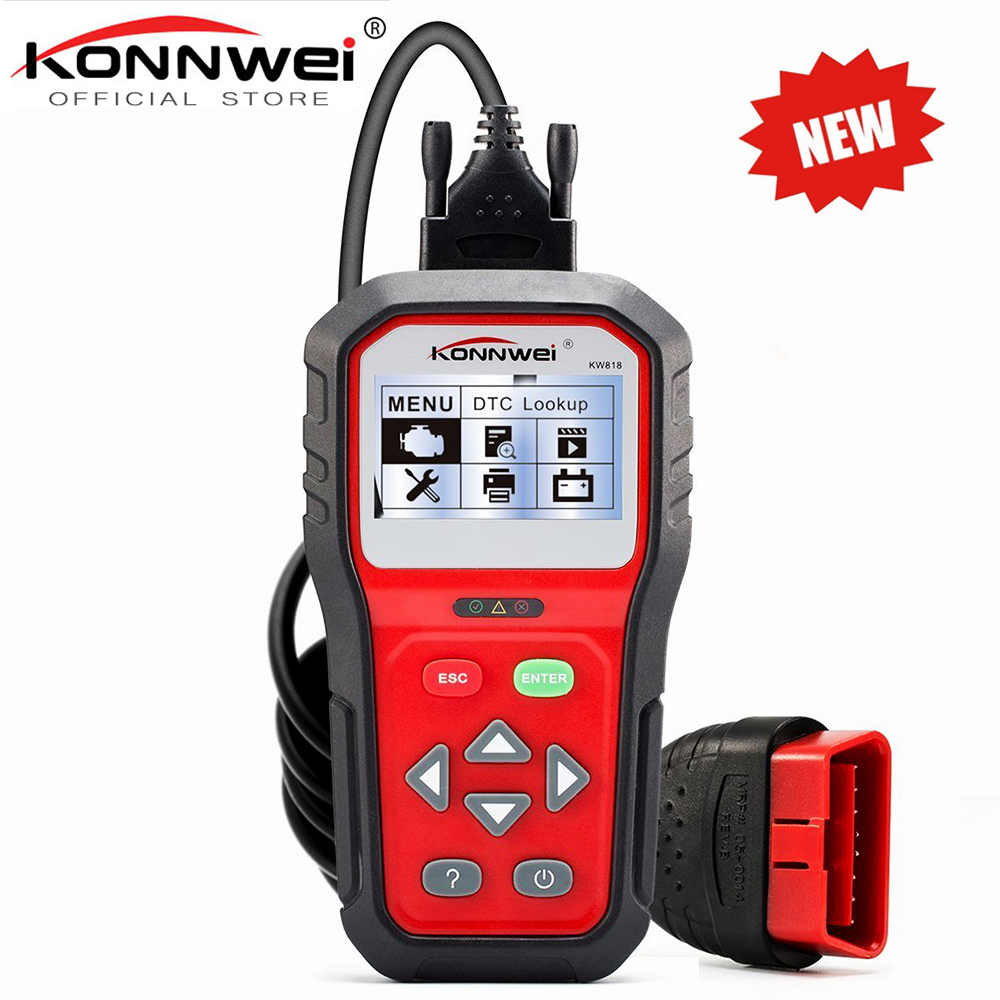 KONNWEI KW818 Enhanced OBDII ODB2 EOBD Car Diagnostic Scanner 12V Battery Tester Check Engine Engine Automotive Code Reader Tool 2017 latest konnwei diagnostic code reader car fault auto scanner tool kw830 obdii eobd car detector automotive tool