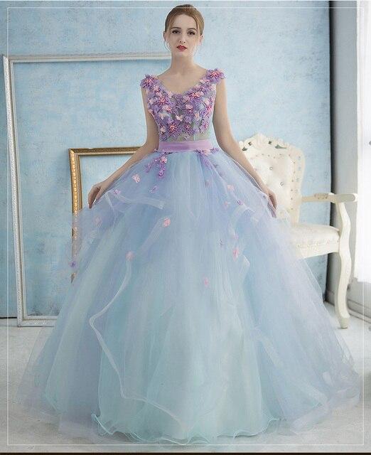 O Envio gratuito de Vestidos Quincenera vestidos de 15 Com Decote Em V Barato vestido de Baile Puffy Flores Princesa Vestidos Formais Prom Evening