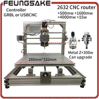 CNC Wood Router 15w Laser GRBL Diy CNC Machine USBCNC With 300w Spindle Carving 2632 Laser