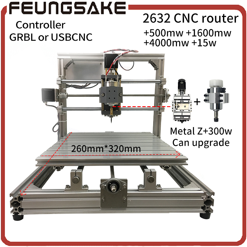 CNC Wood Router+15w laser,GRBL Diy CNC machine,USBCNC with 300w spindle carving 2632+laser engrave,offline pcb Milling machine