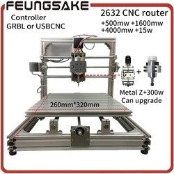 Router di Legno di CNC + 15 w laser, GRBL Diy CNC machine, USBCNC con 300 w mandrino intaglio 2632 + laser incide, offline pcb Milling machine