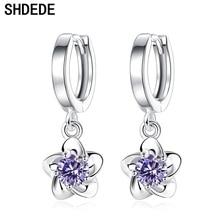 SHDEDE Flower Earrings CZ Purple Crystal Cubic Zirconia Elegant Women Fashion Jewelry Accessories Gift *+WHJ77