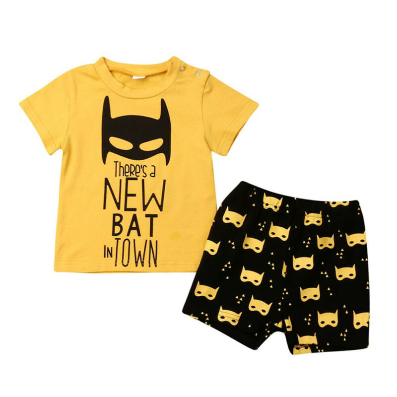2019 Cartoon Batman 2Pcs Toddler Kids Baby Boy Outfit Clothes T-shirt Tops Pants Legging Clothes 0-3Years(China)