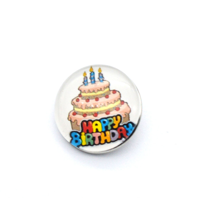 New Arrival Cake Happy Birthday Snap Button Charms 18mm Snap Buttn