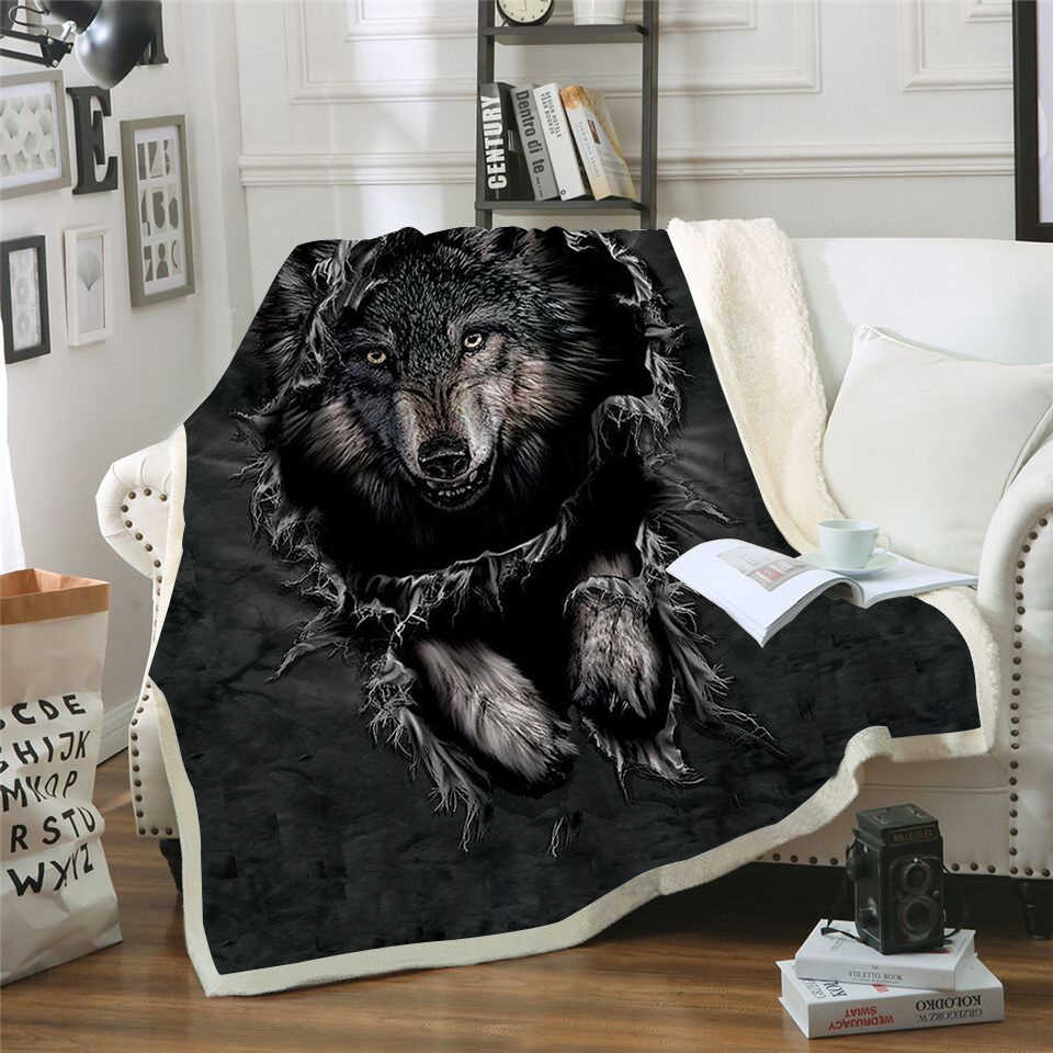 Mountain Wolf 3D Printed Sherpa Blanket Couch Cover Travel Youth Bedding Outlet Velvet Plush Throw Fleece Blanket Bedspread New