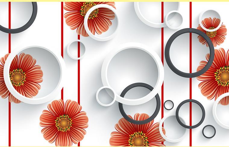 Popular red flower wallpaper buy cheap red flower for Red flower wallpaper living room