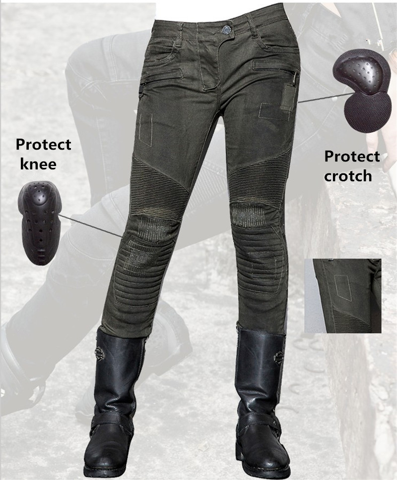 Uglybros MOTORPOOL UBS012 Jeans Gun Green Motorcycle Pants Women's moto Pants Motorcycle Protective Jeans size: 25 26 27 colorful brand large size jeans xl 5xl 2017 spring and summer new hole jeans nine pants high waist was thin slim pants