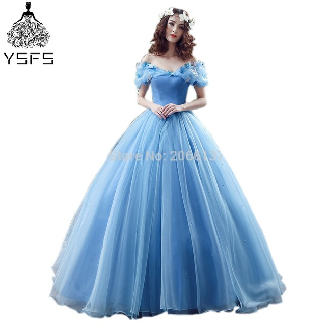 High Quality Glamorous Sweetheart Long Ball Gown Wedding Dresses Tulle Sky Blue Bow Shiny Princess Dress For Wedding Party-in Wedding Dresses from ...