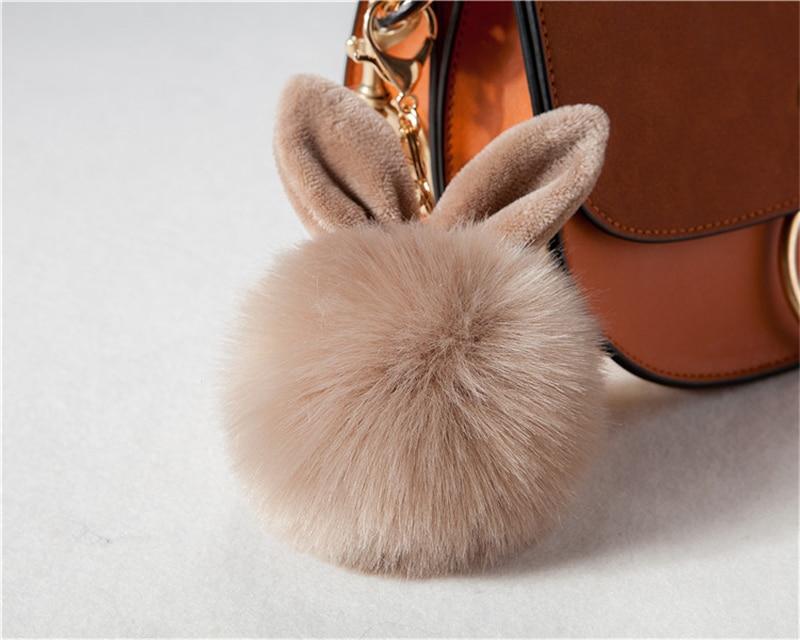 2017 Fur Pom Pom Keychain Fake Rabbit fur ball key chain porte clef pompom de fourrure pompon Bag Charms bunny keychain Keyring 30