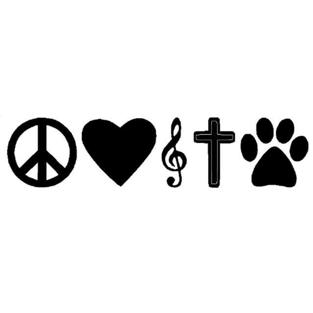16 8cm3 8cm fashion peace love music faith dog paw print decals car sticker