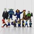 12 unids/lote Utopía Zootopia de 4-7 cm Nueva Película de Dibujos Animados Película de Acción Figura PVC Mini Juguetes de aves de Nick Fox Judy Juguetes para Niños Conejo