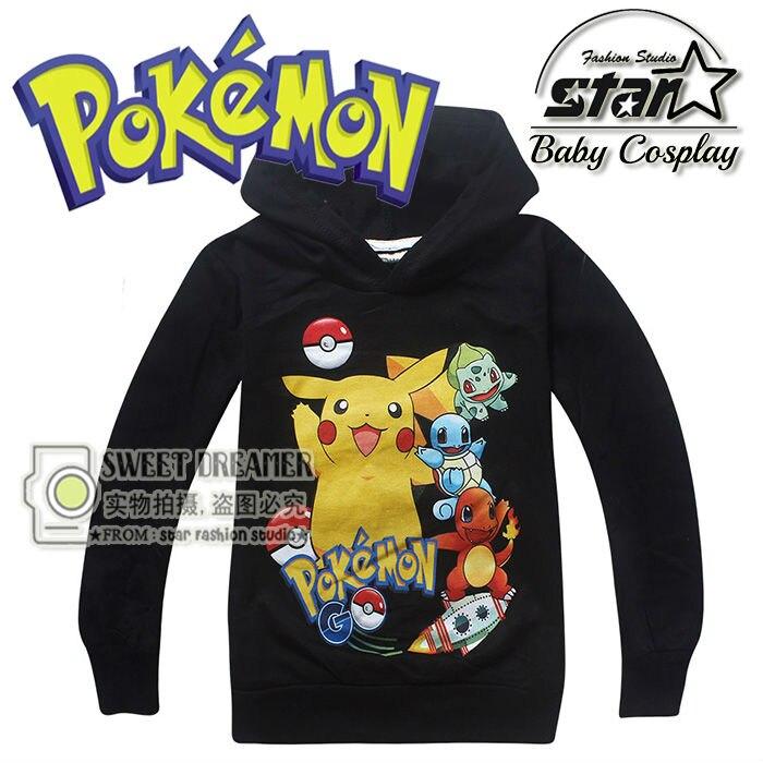 2016 Children Boys Pikachu Charmander Pokemon Sweatshirt Boys Girls Winter Fashion Sudaderas Casual Harajuku Pullover Hoodies