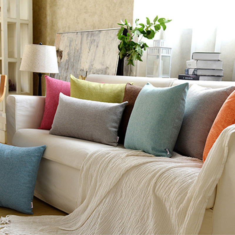 Thick Linen Fabric Solid Color Back Pillow Large Cushion Sofa Office Bed Pillowcase Lumbar Pillow Simple Customization BZ004-30