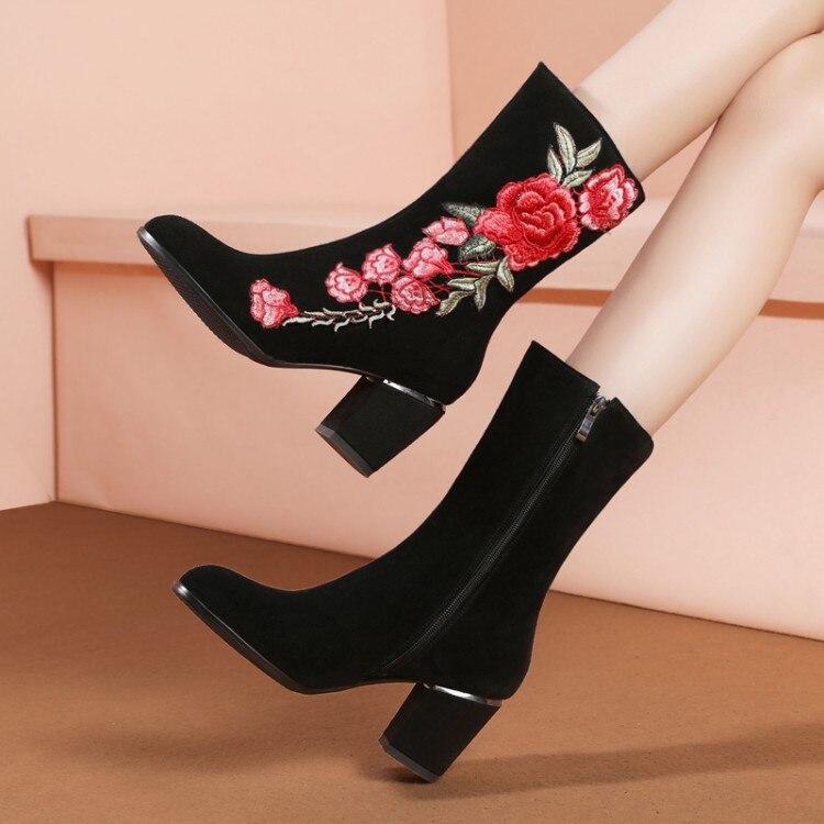 Frauen Mode Hohe Frau Wade Wildleder Plus Schwarzes Mitte Botas Blumen Stiefel {zorssar} Winter Pelz Der Leder Schuhe Mujer De Größe xfd1YqZw