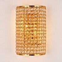 Роскошные Королевский Золотой Кристалл Спальня настенный светильник Современные Золотой База Ванная комната коридор настенные бра балкон