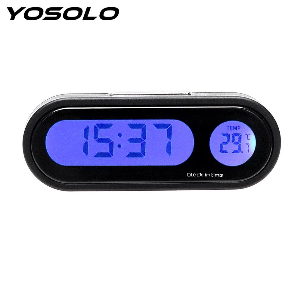 YOSOLO 2 In 1 Digital Clock Thermometer Mini Automobiles Decor Car Car Ornaments Decoration Interior Accessories Car Styling in Ornaments from Automobiles Motorcycles