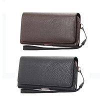 2 Style Single Layer Business Lichee Pattern Leather Vertical Horizontal Pouch Holster Phone Bag For IPhone