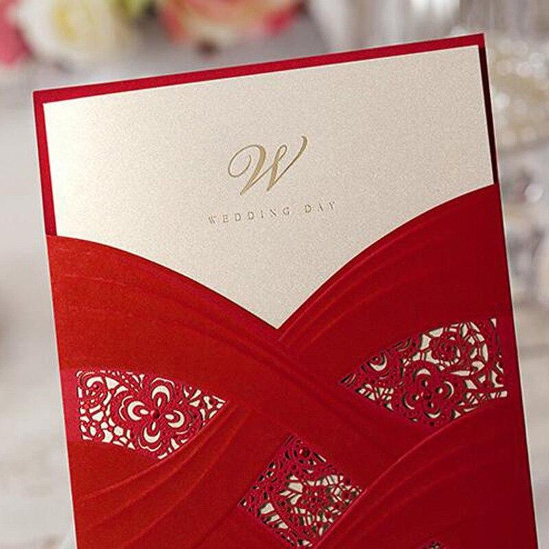 50pcs White Red Laser Cut Luxury Flora Wedding Invitations Card ...