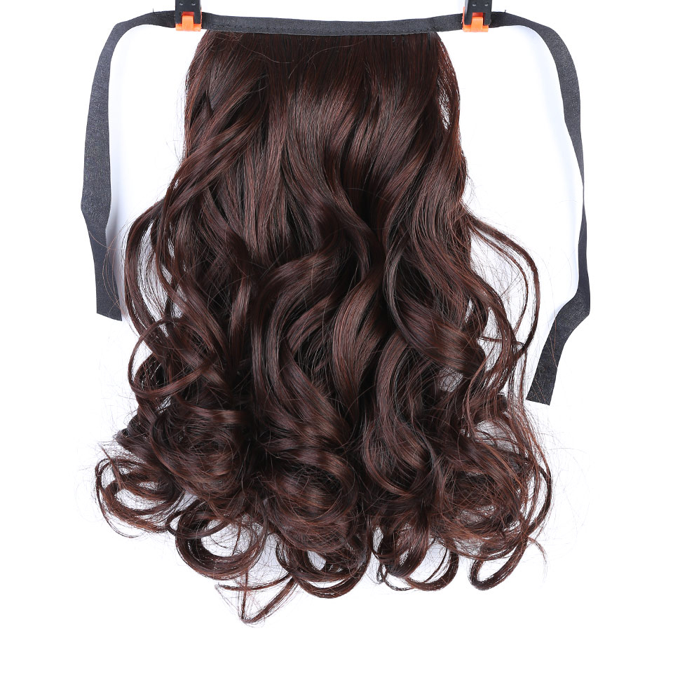 Short Heat Resistant Drawstring Hairpieces Wavy Ponytail