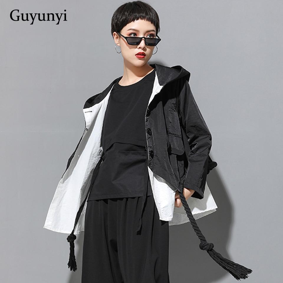 Europe Hip Hop Blouse Women 2019 Autumn Hooded Coat Black White Stitching Fake Two Pieces Long Sleeve Ladies Shirts