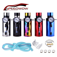 SPEEDWOW Universal Aluminum Engine Oil Catch Reservoir Breather Tank Can With Vacuum Pressure Gauge Oil Catch Tank Can speedwow universal aluminum engine oil catch reservoir breather tank can with vacuum pressure gauge oil catch tank can