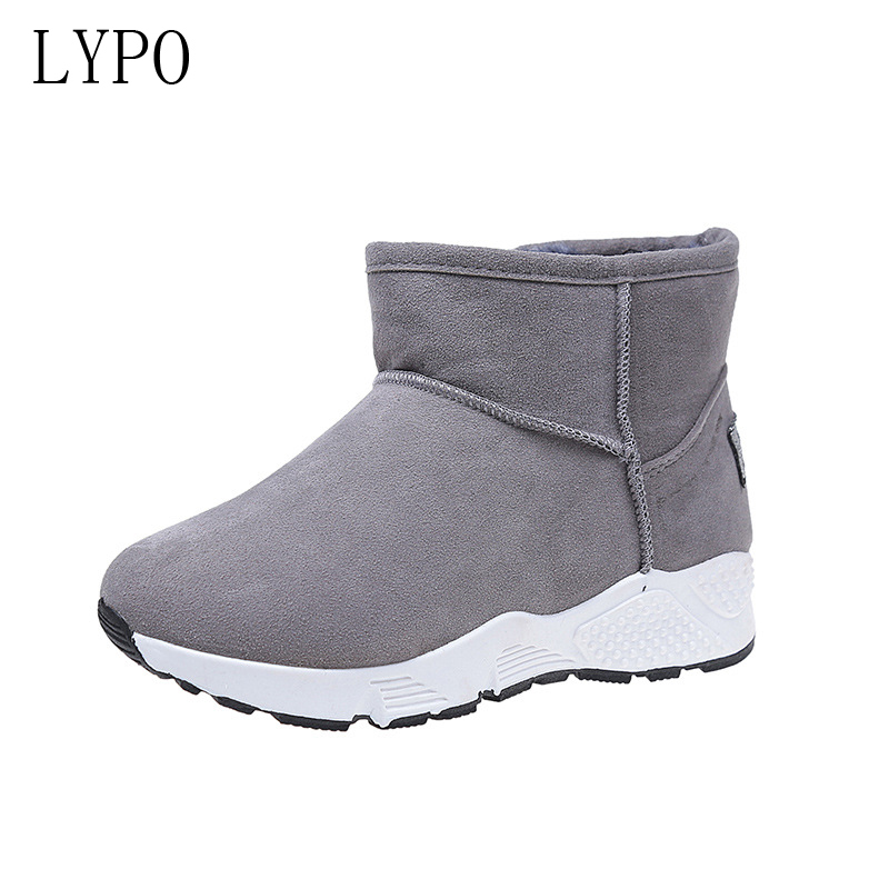 LYPO fashion women shoes winter 2017 new warm snow boots round toe Non slip ankle boots