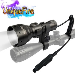 UniqueFire 4715AS IR 850nm torche LED lampe à lumière infrarouge Vision nocturne 67mm lentille convexe Zoom lampe de poche avec monture de portée + queue de Rat