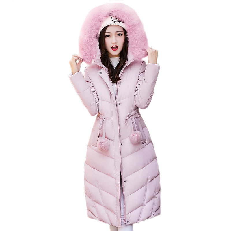 Maxi Winter Coat 2017 Casual Slim Faux Fur Collar Winter Jacket Coat Women Hooded Thick Long Cotton Parkas Female Coat FP0094 winter jacket women hooded fur collar casual cotton coat long jacket female parkas mujer maxi coats oversized coats thick c2548
