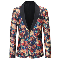 Costume Male Jacket Wine Red Flower Print Groomsmen Wedding Blazers Evening Party Dress Suit Blazer