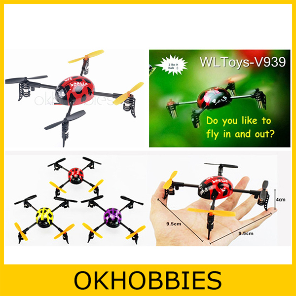 20pcs/lot Original WL V939 2.4G 4CH UFO Ladybird 3D Fly RC Helicopter Quadcopter 4 axis GYRO W/ LED Light RTF V911 S107 Upgrade