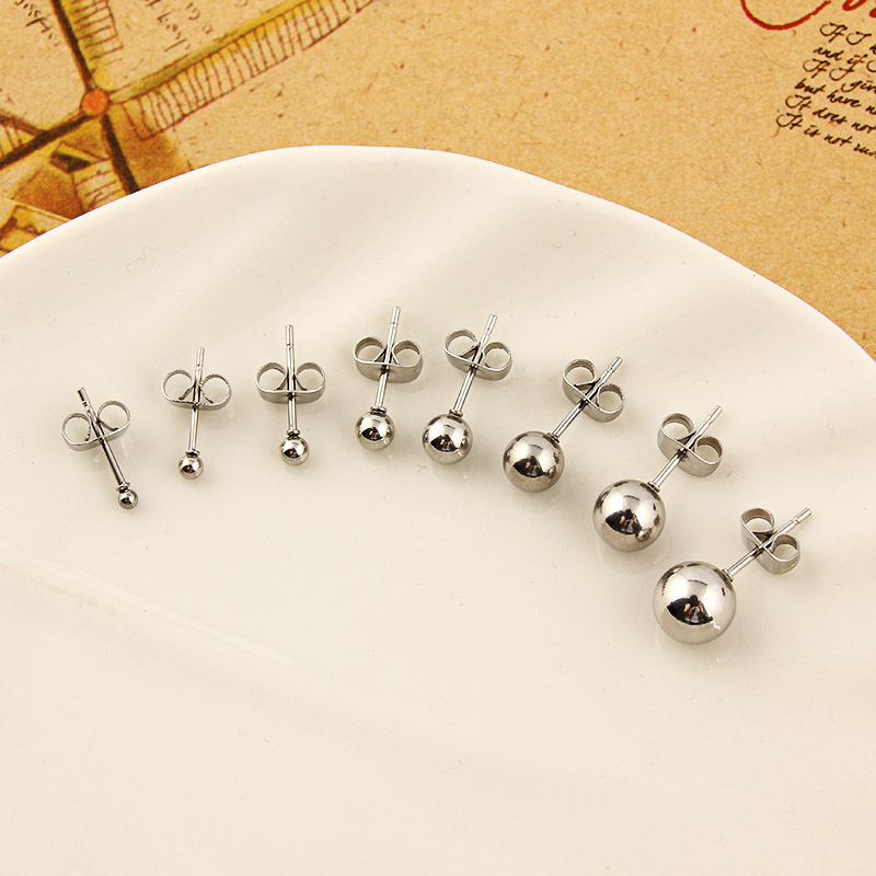 Stainless Steel High Quality Multi-color Polishing Round Ball Stud Earrings Safe Prevent Allergy Pins Size 2-8mm For Femmal Brin