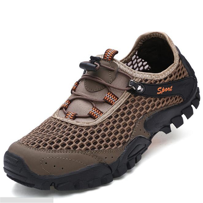 Men outdoor sports climbing shoes non slip wear resistant quick drying mesh hiking shoes travel shoes waterproof sneakers men in Hiking Shoes from Sports Entertainment