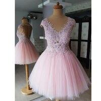 Румяна Розовые Короткие бальные платья V образным вырезом с кружевной аппликацией и коротким рукавом тюль платье для выпускного вечера инд