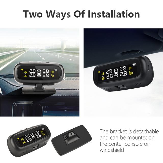 Jansite Solar TPMS Car Tire Pressure Alarm Monitor System Display Intelligent Temperature Warning with 4 sensors BAR LCD Display