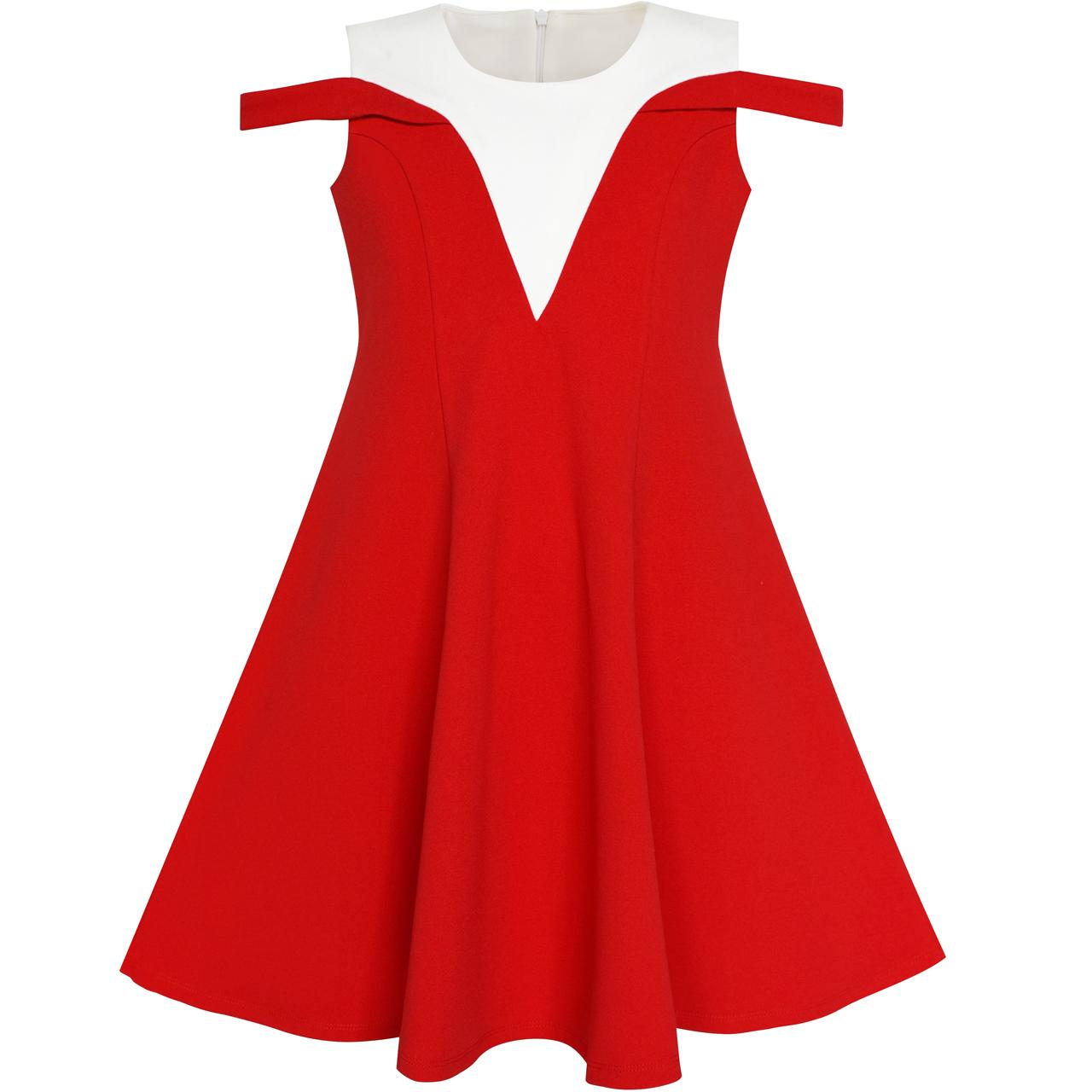 Girls Dress Red White Cold Shoulder Color Contrast Holiday 2018 Summer Princess Wedding Party Dresses Kids Clothes Size 5-12 contrast strap cold shoulder top