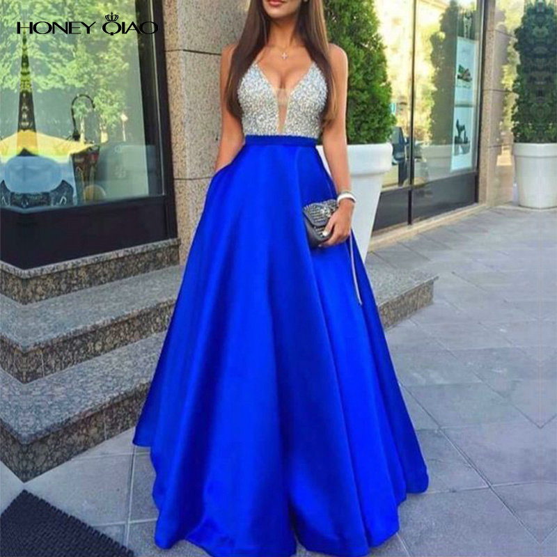 28d50bc241 Honey Qiao Evening Dresses 2016 Blush Satin With Pockets Deep V Neck  Sequined Open Back Gorgeous Sexy Cheap Long Prom Gowns -in Evening Dresses  from ...