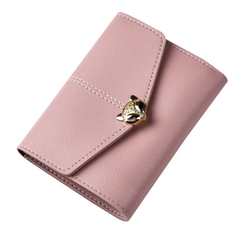 Women Wallet Female Purse Leather Card Holder Wallet Small Purse Coin Envelope Wallet Trifold Buckle Women Clutch Casual Trend large capacity women wallet leather card coin holder money clip long clutch phone wristlet trifold zipper cash female purse