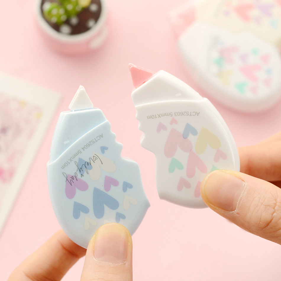 2 In 1 Love Heart Correction Tape Material Escolar Kawaii Stationery Office School Supplies Correction Supplie Free Shipping
