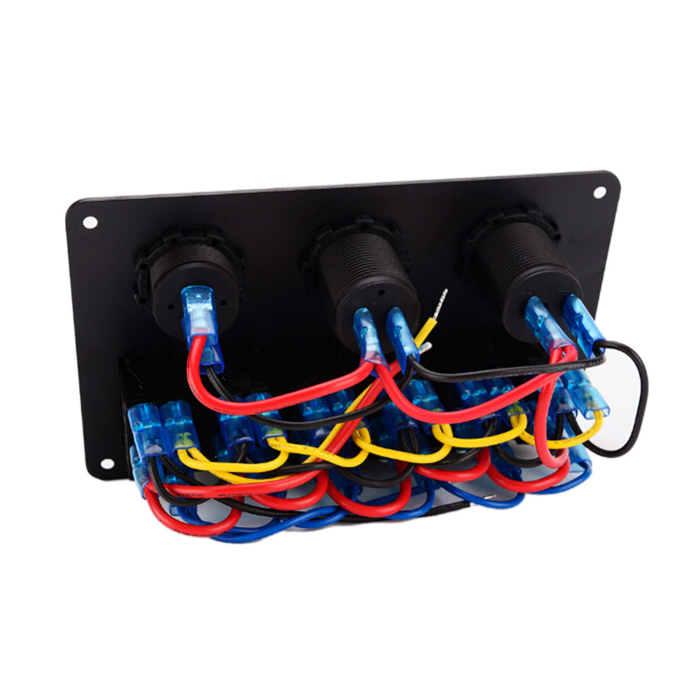 New 12v 24v Boat Marine 6 Gang Led Rocker Switch Panel Circuit Wiring Breakers Usb Socket Charger Cigarette Light Plug Voltmeter In Car Switches Relays From