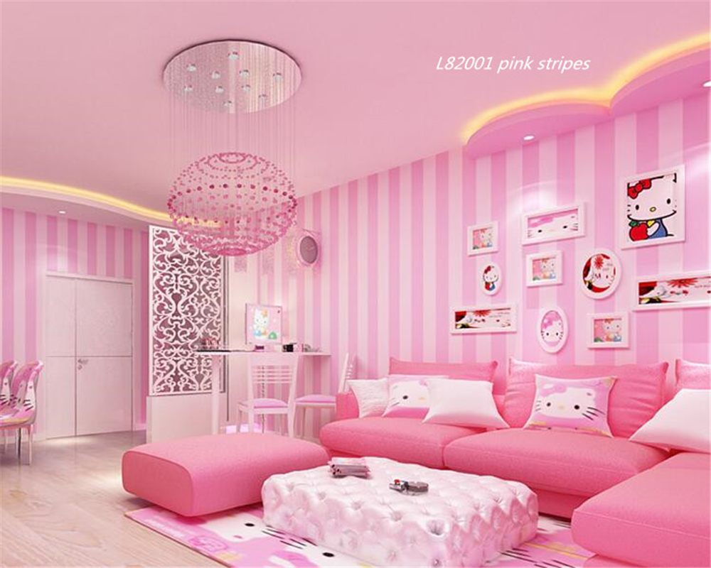 Girls Pink Bedroom Wallpaper Beibehang Modern Simple Korean Striped Wallpaper Pink Warm