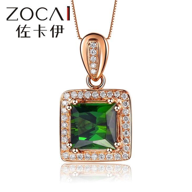 ZOCAI marque collier CHANSON série 1.3 CT réel vert TOURMALINE pur 18 K or ROSE pendentif avec 925 chaîne en argent D03906