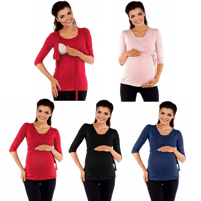 fb517a6512258 Pregnancy Clothes for Pregnant Women Maternity Clothing Pregnant Solid Top  Nursing Baby For Maternity Middle Sleeves Blouse