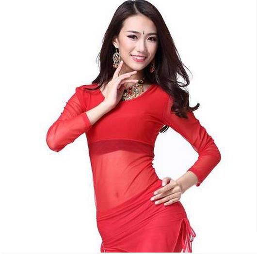 New Arrival Crystal Cotton And Mesh Belly Dance Top Momen Long Sleeves Belly Dance Tops 9 Colors Sexy Tops FM5128-1