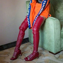 NAYIDUYUN    Rivets Thigh High Pumps Women Lace Up Straps Genuine Leather Over The Knee Booties Tall Shaft Punk Motorcycle Boots