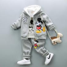 Мальчик набор зима микки маус толстая одежда набор костюм малыш мальчик теплая одежда с мехом хлопка костюмы для мальчика 3 шт.
