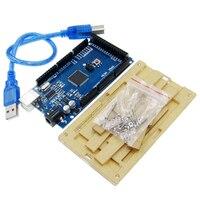 1SET Hot Mega 2560 R3 Mega2560 ATmega2560 16AU CH340G Board Acrylic Case USB Cable Compatible