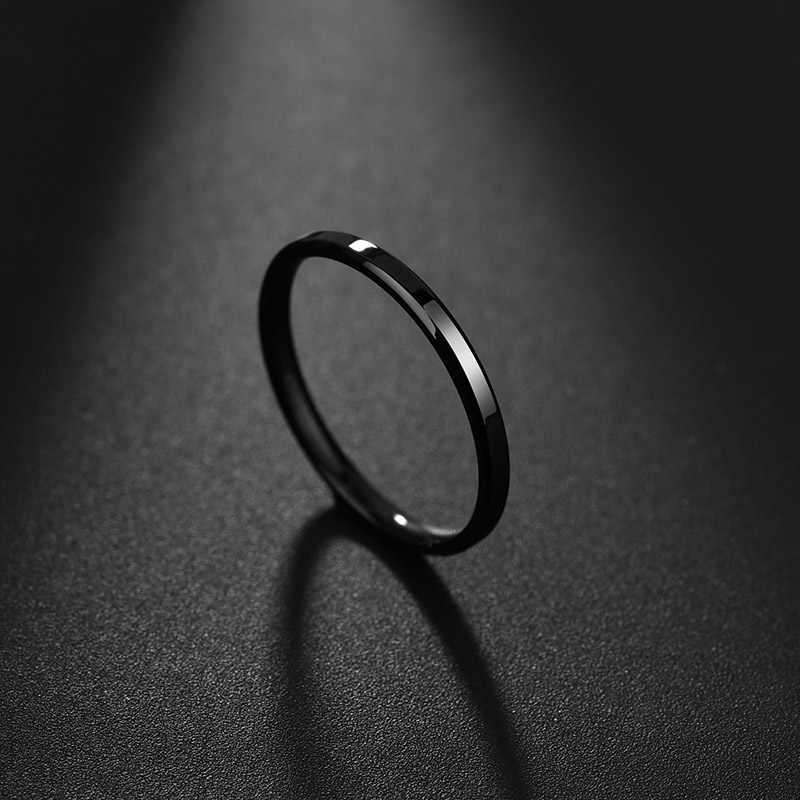ELSEMODE 2mm 티타늄 스틸 안티 알레르기 골드 부드러운 약혼 웨딩 커플 반지 여자 보석 쥬얼리 선물