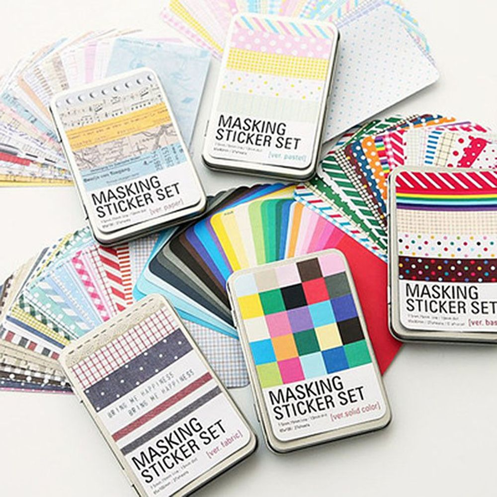 27 PCS/BOX DIY Kawaii Paper Dot/Color Block/Stripe Sticker Vintage  Masking Set Sticker For Diary Scrapbooking Student Cute
