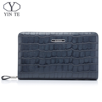YINTE Fashion Men's Clutch Wallets Leather England Style Clutch Bag Passport Purse Men Card Holder Crocodile Prints Bags T016 1